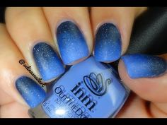 Art nail made by:  SelinasNailArt Here is a dark blue ombre with a tad of glitter and topped off with a matte top coat.  I'm using INM nail polish for this nail art. You can find these products at www.inmnails.com.   Social Medias:  Instagram: http://instagram.com/selinasnailart# Facebook: https://www.facebook.com/pages/Selina... Twitter: https://twitter.com/Selinas_NailArt