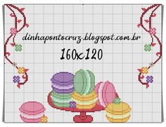 - Dinha Ponto Cruz - bem vindos!!! Paper Crafts, Diy Crafts, Cross Stitch Designs, Cross Stitch Embroidery, Macarons, Cup Cakes, Fun Stuff, Christmas Tree, Chocolate
