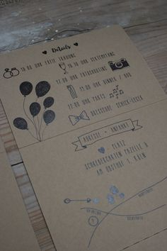 """Hochzeitseinladung """"Doodles & Kraftpapier"""" Set aus:   Einladung 6-seitiger Folder mit Antwort-Postkarte zum Abschneiden und kleinem Herz-Anhänger zum Verschließen der Karte, dazu ein zartmin…"""