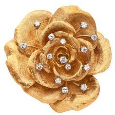 CARTIER Gold and Diamond Flower Brooch  | 1stdibs.com