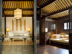 Chinese resort - love the dark woods, minimalistic furniture and Chinese script.