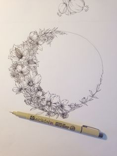 Floral crescent moon illustration by Jenna Rainey of Mon Voir