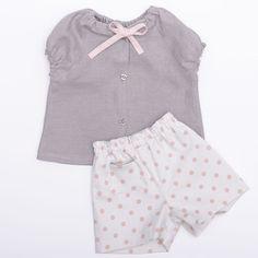 Ensemble bébé fille branchée blouse et short coton et lin chic cérémonie été  : Mode Bébé par bcbebe