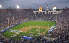Los Angeles Coliseum - history, photos and more of the Los Angeles Dodgers former ballpark Dodger Stadium, Stadium Tour, Yankee Stadium, Baseball Park, Dodgers Baseball, Baseball Field, Basketball Court Flooring, Nfl Stadiums, Baseball Pictures