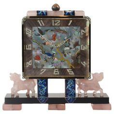 Important Art Deco Chinoiserie Desk Clock by  Lacloche Freres | From a unique collection of vintage wrist watches at https://www.1stdibs.com/jewelry/watches/wrist-watches/