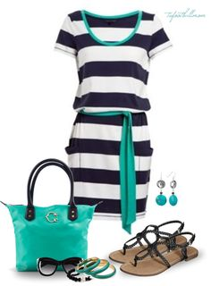 """""""Striped T-Shirt Dress"""" by tufootballmom ❤ liked on Polyvore"""