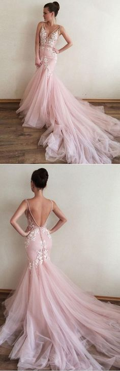 Sexy Prom Dress,Appliques Prom Dress,V-Neck Prom Dress,Mermaid Prom Dress,Long Prom Dress,Formal Evening Dress,Pink Prom Dresses,Tulle Prom Gown #pink #promdress #tulle #mermaid #formal #evening #long
