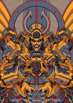 Subjekt Zero on Behance Japanese Art Modern, Japanese Artwork, Japanese Tattoo Art, Arte Gundam, Gundam Art, Samurai Wallpaper, Warriors Wallpaper, Samurai Artwork, Ninja Art