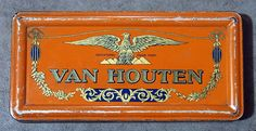 Van Houten oranje blikdoosje.