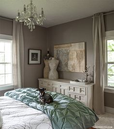 Lia Griffith's Home Tour: The Bedroom...wall color is Palisade by Sherwin Williams.