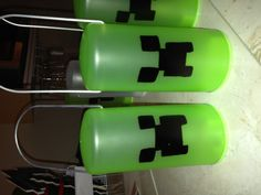 DIY Minecraft creeper lanterns made these as party favours for my son birthday all the boys used them to go mining lol