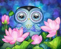 Owl Art  Lotus Flowers  Watercolor Painting Print  by AnnyaKaiArt, $19.95
