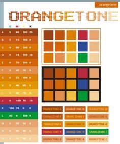 Orange tone: Description:  Basically, the Orangetone combines different tones of orange. Adding basic colors like red, blue, and green can create dramatic effect of stimulating and energizing. Meanings:  Warm, stimulating, enticing, energizing  Implications: Revitalized, childlike, playful