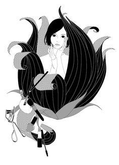 """katogi: """"「きらら」(小学館)3月号にて、神田茜氏の「シャドウ」で扉絵を描きました。影であるはずの妹がどんどん女になっていく…。3月号は2月20日発売予定です。 (*゚v゚*) """""""