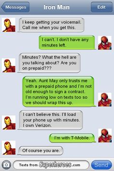 Man, you lose one phone. | 15 Leaked Text Messages Sent by Famous Superheroes | Cracked.com