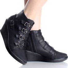 Black Wedge Ankle Boots Steampunk Buckle Fashion Womens Bootie Heels