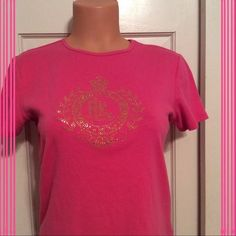 Lauren Ralph Lauren Pink Shirt Pink Ralph Lauren T-Shirt with gold signature embellished on the front. This T-Shirt comes from a smoke free home. Ralph Lauren Tops