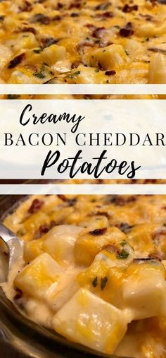 Bacon Cheddar Potatoes are Creamy Potato side dish loaded with cheese! Cheddar Potatoes, Bacon Potato, Potato Sides, Potato Side Dishes, Cheesy Potatoes, Vegetable Side Dishes, Main Dishes, Amazing Vegetarian Recipes, Vegetarian Food