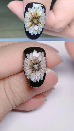 Rose Nail Art, Floral Nail Art, Gel Nail Art, Acrylic Nails, Flower Nails, Nails With Flower Design, Flower Nail Designs, New Nail Art Design, Nail Design Video