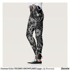 7dc8e4f0915aa Custom-Color TECHNO SNOWFLAKE Leggings Snowflake Leggings, Gym Fashion,  Fitness Fashion, Yoga