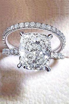 18 Brilliant Cushion Cut Engagement Rings ❤ See more: http://www.weddingforward.com/cushion-cut-engagement-rings/ #wedding #engagement #rings