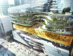 With a Bookstore at its Core Aedas Unveils Mix-use Project Inspired by Rolled Book Scrolls,Courtesy of Aedas