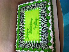Lime green and zebra print birthday cake