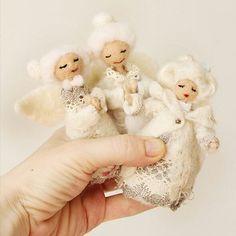 Xmax Santa gift - Felt Guardian Angel - Christmas decor - Christmas Tree ornament - OOAK felt doll