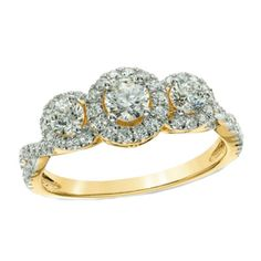 1 CT. T.W. Diamond Frame Engagement Ring in 14K Gold #affinityjewelry #Engagement
