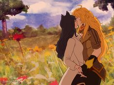 """bearly-dressed:"""" DAMN IT. I missed Valentine's Day by a SINGLE MINUTE, lmao. Anyway, here's some Bumbleby I was racing to finish in time for the occasion. Rwby Anime, Rwby Fanart, Cute Lesbian Couples, Lesbian Art, Deeps, Rwby Yang, Rwby Blake, Rwby Bumblebee, Rwby Comic"""