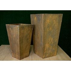 Here Is Another Selection From Our Lightweight Cement Collection. These  Tall Square Rust Planters Are