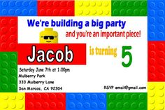 Lego Birthday Invitation by PintSizePartyDesigns on Etsy, $8.00
