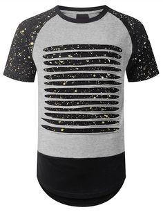 URBANCREWS Mens Hipster Hip Hop Splatter Ripped Raglan Longline T shirt GRY, L  #URBANCREWS #NA