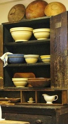 real simple style: It just keeps getting better. Vintage Bowls, Vintage Kitchenware, Real Simple, Simple Style, Antique Stoneware, Stoneware Crocks, Prim Decor, Primitive Decor, Primitive Kitchen