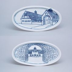 architectural drawings on functional porcelain, custom work available