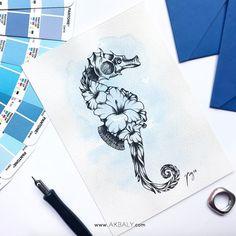 Illustration by … – floral tattoo sleeve Small Octopus Tattoo, Octopus Tattoo Sleeve, Octopus Tattoo Design, Seahorse Tattoo, Sleeve Tattoos, Sea Life Tattoos, Time Tattoos, Body Art Tattoos, Seahorse Drawing