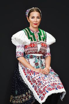 Myslava, Slovakia, known for the exquisite embroidery! Folk Fashion, Fashion Art, Fashion Design, Europe Fashion, Fashion History, Ukraine, Costumes Around The World, Sasha Doll, Tribal Dress