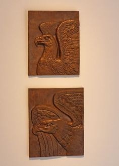 Eagle plaques l and ll by William Zorach   Samson Gallery art opening for the Marguerite Zorach, Dahlov Ipcar, & William Zorach Show, South End, Boston, MA, Saturday, June 20, 2015