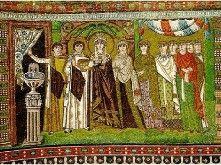 Mozaïek van Theodora en haar hovelingen