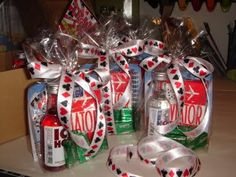 Party Prize Bags - Very simple to make and looked very cute!  Scratch off lottery tickets, deck of playing cards, mini bottle of alcohol, a couple dice, and some mints!