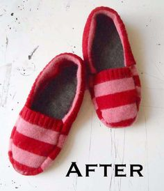 Upcycled Sweater Slipper tutorial