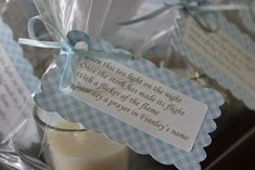 Baby Shower votive candle and prayer