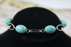 Turquoise Silver Link Bracelet by soyon on Etsy, $16.00