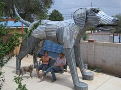 Best Friend Big Dog Sculpture with Porchswing by DonsBigArt, $51750.00