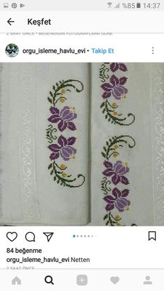 This post was discovered by Melek ŞEKER. Discover (and save!) your own Posts on Unirazi. Cross Stitch Rose, Cross Stitch Borders, Cross Stitching, Cross Stitch Embroidery, Hand Embroidery, Cross Stitch Patterns, Embroidery Designs, Embroidered Towels, Free To Use Images