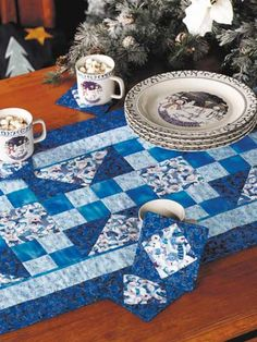 Quilting - Table Topper Quilt Patterns - True Blue Snowman Quilted Table Runner Pattern