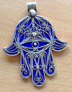 Hamsa Art, Jewish Art, Silver Enamel, Evil Eye, Shapes, Christmas Ornaments, Eyes, Third Eye, Pendant