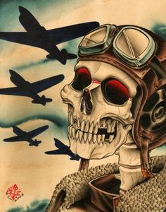 Pilot by 2 Cents War Airplanes Skull Tattoo Artwork Canvas Art Print