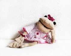 frog doll hand made doll Rag Doll  Art Doll funny by AnnaDesigner, $45.00