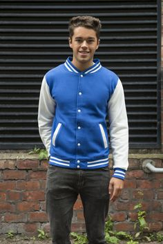 Personalised Your Text Logo JH043 AWDis AWD is Hoods Varsity jacket outerwear